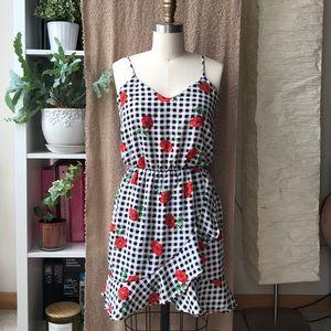 Black & White Checkered Poppy Printed Ruffle Dress